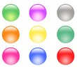 Button collection of 9 colorful