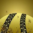 Black tire track banner