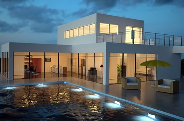 Villa and Pool in the Evening