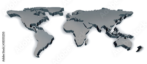 Staande foto Wereldkaart Three Dimensional World Map