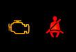Auto Warnsymbole: Sicherheitsgurt, Motor