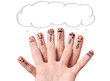 finger smileys with speech bubbles.