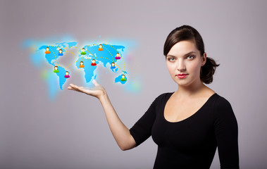 Young woman holding virtual map