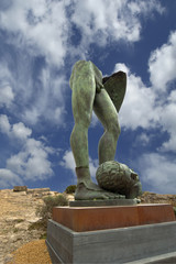 The statue in the archeological area of Agrigento, Sicily, Italy