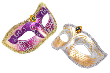 Two Carnival Venetian mask isolated on white