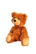 Sitting teddy bear isolated over white with clipping path