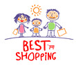 Best shopping hand drawn illustration with happy family.
