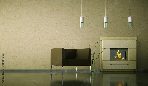 Wohndesign -  Sessel vor Kamin
