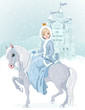 Princess riding horse at winter