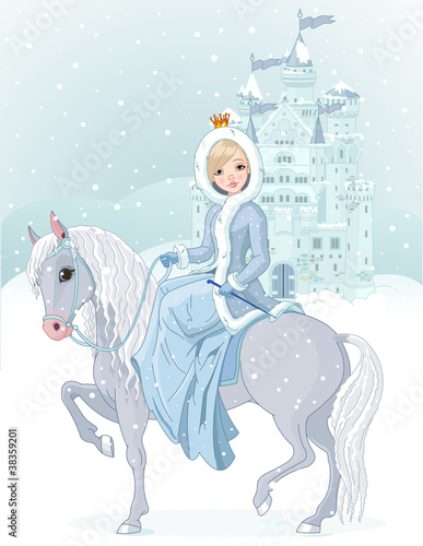 Fototapeta Princess riding horse at winter