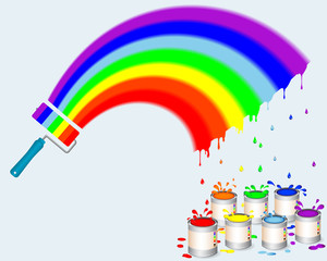 Rainbow paint roller with pots of paint.