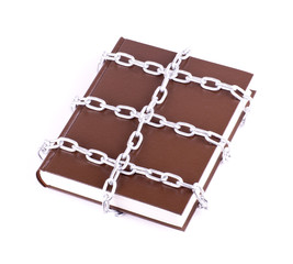 Brown book is linked chain isolated