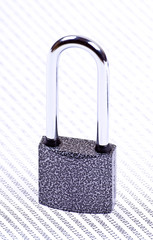 The padlock on the binary code of ones and zeros