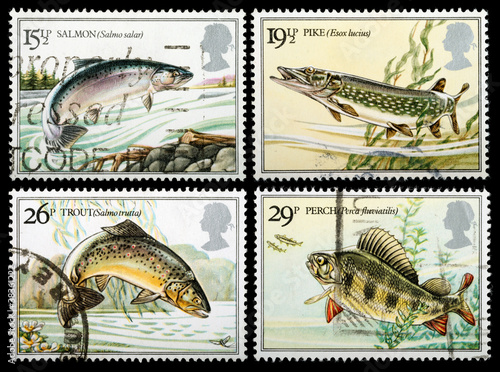 British River Fish Postage Stamps