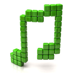 Music note made of green cubes