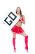 Cheerleader woman hold in hand board or blank sign
