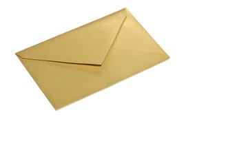 Busta per lettere color oro su fondo bianco