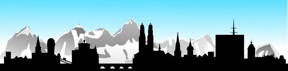 Zürich Skyline mit Alpen und blauem Himmel