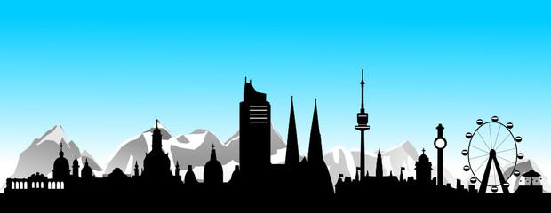 Wien mit Alpen und blauem Himmel