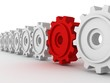 row set of cogwheel white gears with unique red gear