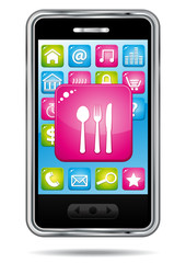 Smartphone with restaurant icon.