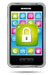 Smartphone with security icon.