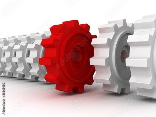 red gear in row of white others. team work concept