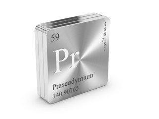 Praseodymium - element of the periodic table on steel block