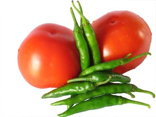 Tomatoes and greeb chillies