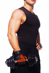Image of athletic male with dumbbell
