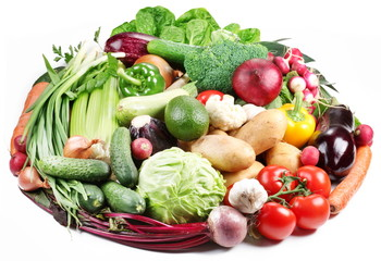 Variety of vegetables are laid out in a circle