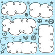 Cloud Frames Swirly Sketchy Vector Doodles Design Elements