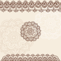 Henna Mehndi Mandala Flower and Border Vector Doodle