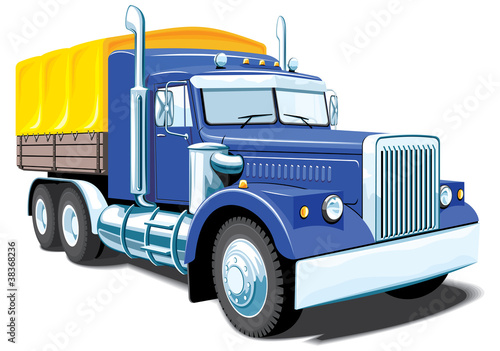 Vector isolated heavy truck without gradients