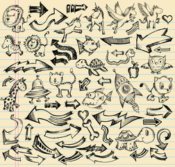 Notebook Doodle Sketch Design Vector Set