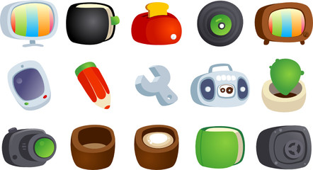 Colorful cartoon icons set