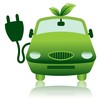 Green Hybrid Electric Car Icon