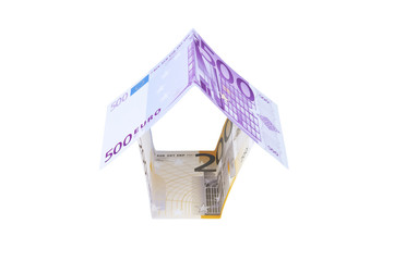House made of euro banknotes