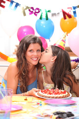 mother and daughter at a birthdayparty