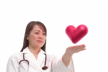 ハートを見つめる女医