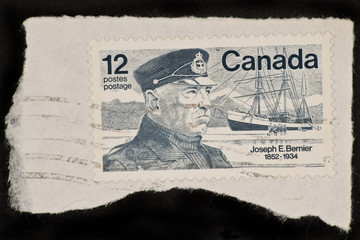 Stamp printed in Canada picture of Joseph E. Bernier