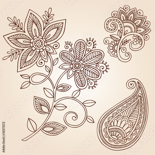 Henna Mehndi Flower Doodles Abstract Floral Paisley Vector