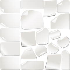 Realistic White Stickers Set Collection. Vector