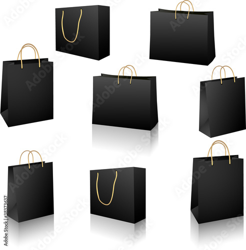 Black shopping bags vector set isolated on white