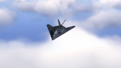 Stealth F-117 Nighthawk flying above clouds