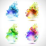 Set of four season icons