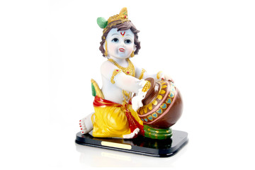 Hindu God Krishna over a white background