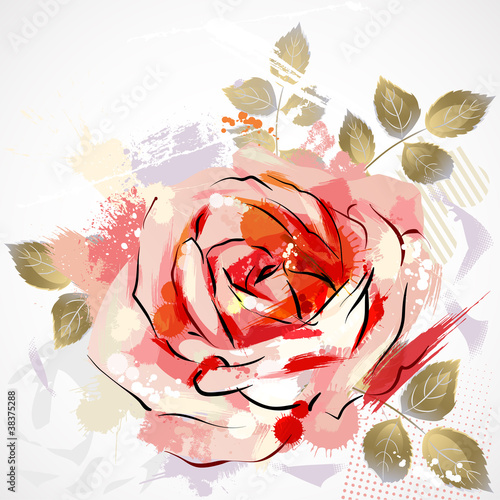 decorative composition with big grunge rose|38375288