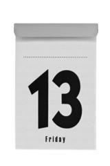 Abreißkalender ohne Monatsangabe zeigt Freitag den 13.