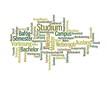 Grüne Wortwolke zum Thema Studium
